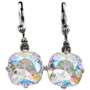 Catherine Popesco Sterling Silver Plated Crystal Round Earrings, 6556 Crystal AB * Limited Edition *