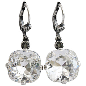 Catherine Popesco Sterling Silver Plated Crystal Round Earrings, 6556 Clear