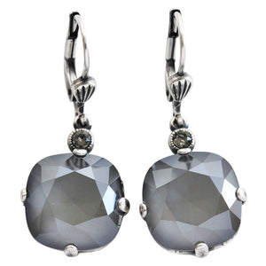 Catherine Popesco Sterling Silver Plated Crystal Round Earrings, 6556 Dark Gray