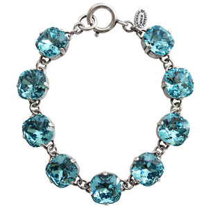 "Catherine Popesco Sterling Silver Plated Crystal Round Bracelet, 7.25"" 1696 Electric Blue"