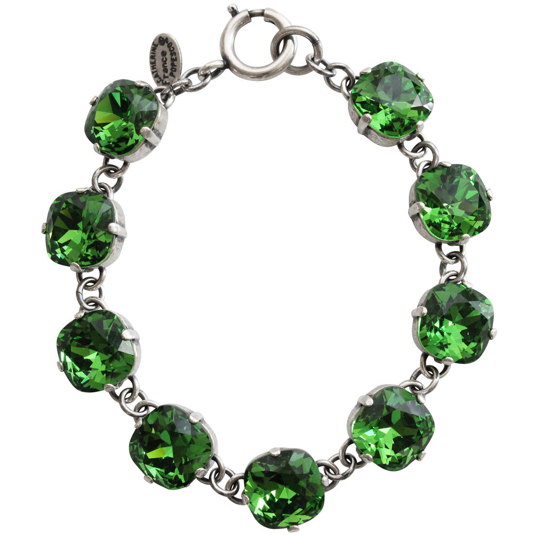 "Catherine Popesco Sterling Silver Plated Crystal Round Bracelet, 7.25"" 1696 Fern"