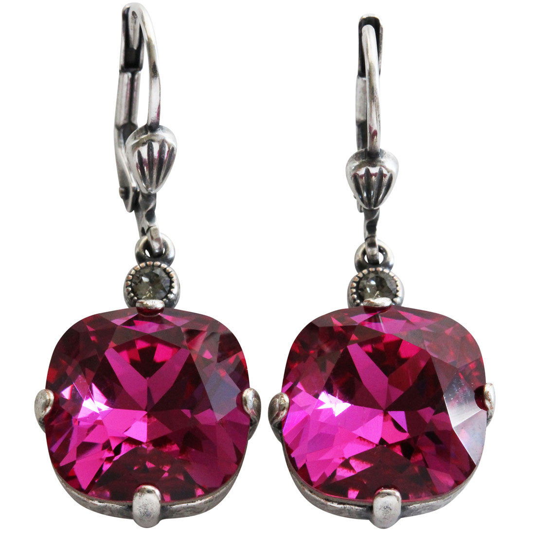 Catherine Popesco Sterling Silver Plated Crystal Round Earrings, 6556 Fuchsia