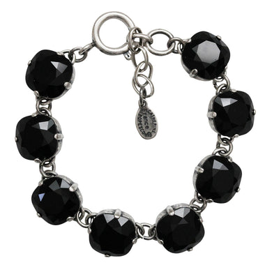 Catherine Popesco Sterling Silver Plated Crystal Round Bracelet, 1696 Jet Black