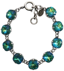 "Catherine Popesco Sterling Silver Plated Crystal Round Bracelet, 7-8"" 1696 Mermaid"
