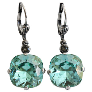 Catherine Popesco Sterling Silver Plated Crystal Round Earrings, 6556 Ocean