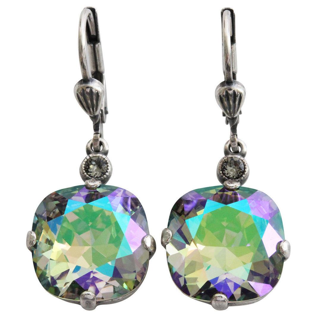 Catherine Popesco Sterling Silver Plated Crystal Round Earrings, 6556 Paradise Shine