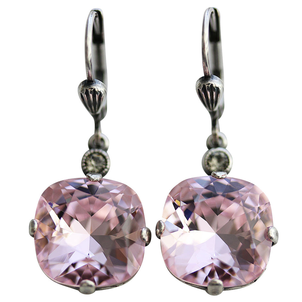 Catherine Popesco Sterling Silver Plated Crystal Round Earrings, 6556 Petal