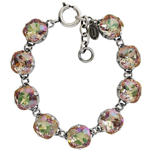 "Catherine Popesco Sterling Silver Plated Crystal Round Bracelet, 7-8"" 1696 Luminescent"