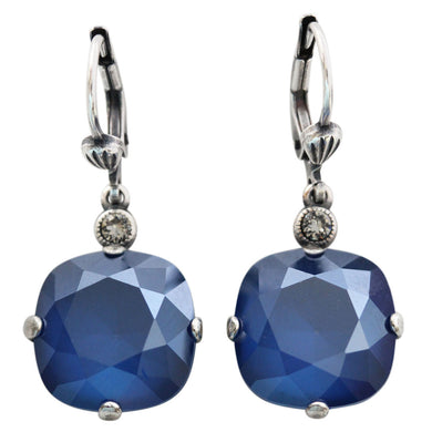 Catherine Popesco Sterling Silver Plated Crystal Round Earrings, 6556 Royal Blue
