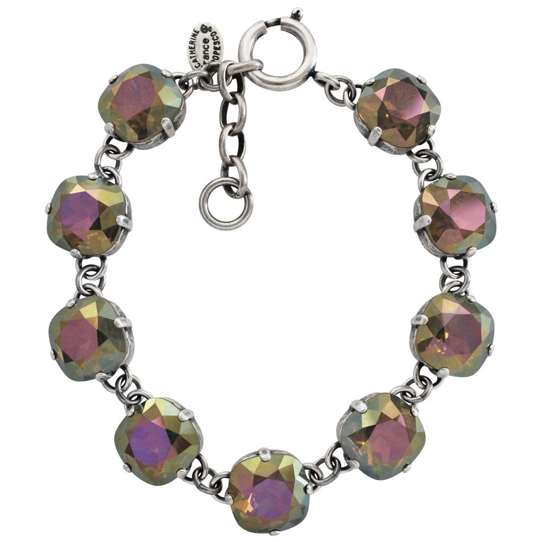 "Catherine Popesco Sterling Silver Plated Crystal Round Bracelet, 7-8"" 1696 Sand Opal"