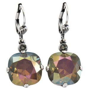 Catherine Popesco Sterling Silver Plated Crystal Round Earrings, 6556 Sand Opal