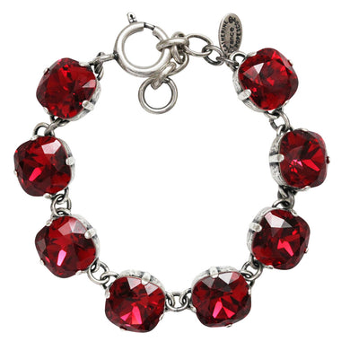 Catherine Popesco Sterling Silver Plated Crystal Round Bracelet, 1696 Scarlet Red