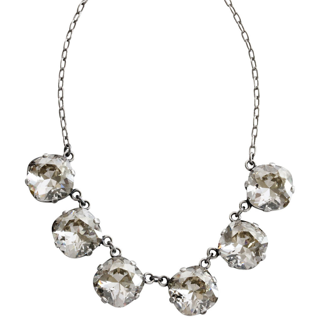Catherine Popesco Sterling Silver Plated Crystal Round Necklace, 16