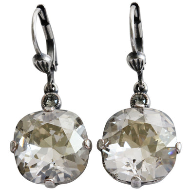 Catherine Popesco Sterling Silver Plated Crystal Round Earrings, 6556 Shade