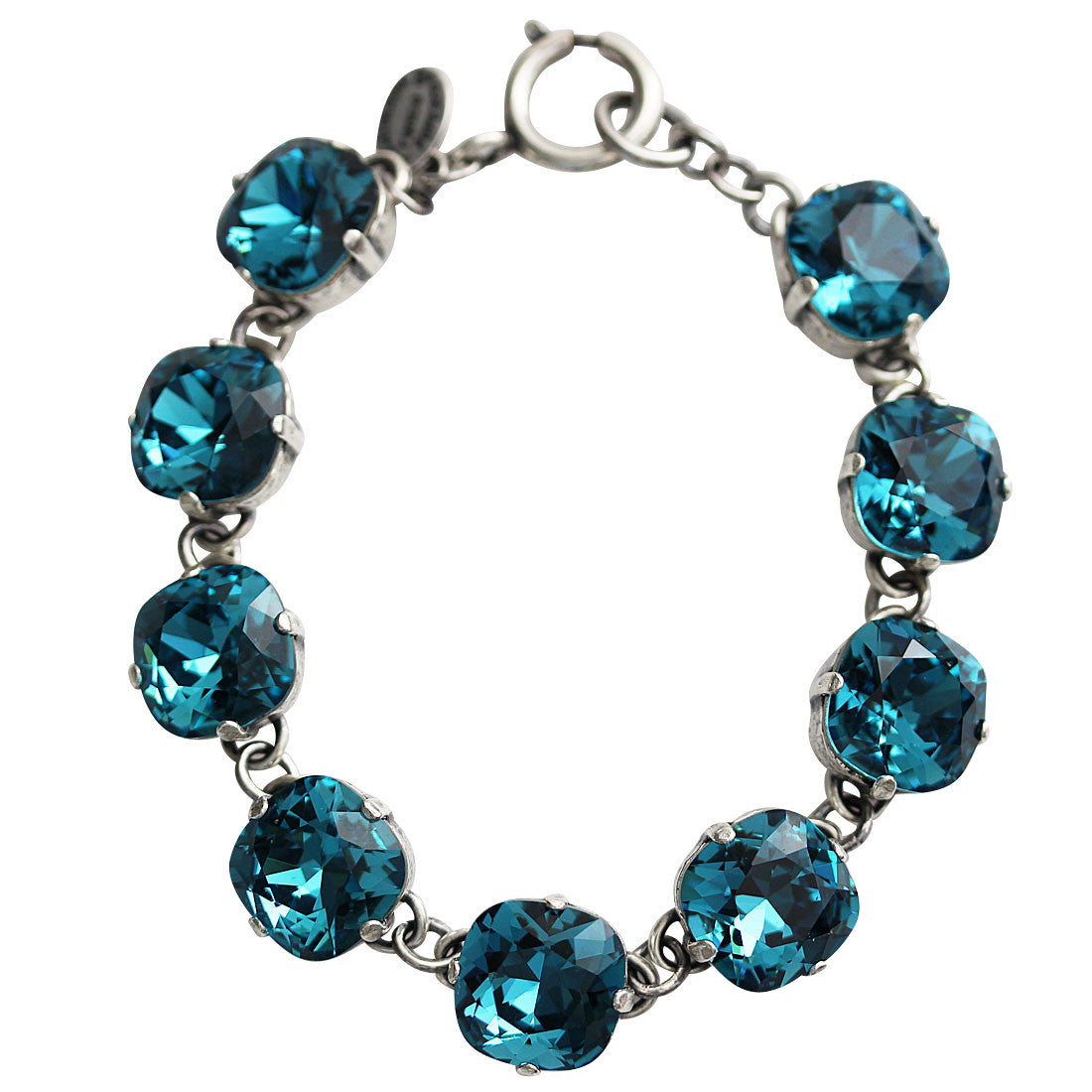 "Catherine Popesco Sterling Silver Plated Crystal Round Bracelet, 7.25"" 1696 Teal"