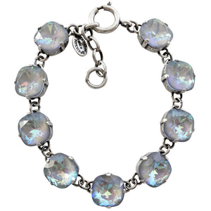 "Catherine Popesco Sterling Silver Plated Crystal Round Bracelet, 7-8"" 1696 Ultra Arctic"