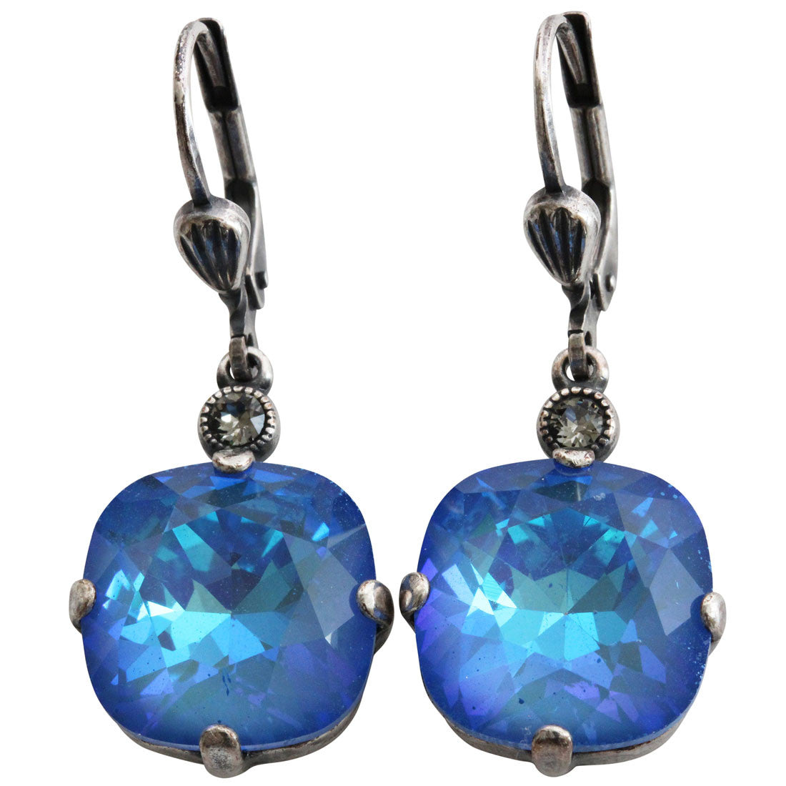 Catherine Popesco Sterling Silver Plated Crystal Round Earrings, 6556 Ultra Blue