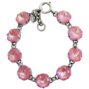 "Catherine Popesco Sterling Silver Plated Crystal Round Bracelet, 7.25"" 1696 Ultra Blush"