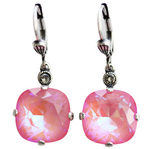 Catherine Popesco Sterling Silver Plated Crystal Round Earrings, 6556 Ultra Blush