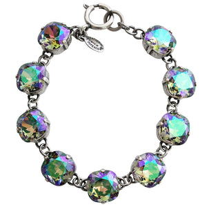 "Catherine Popesco Sterling Silver Plated Crystal Round Bracelet, 7.25"" 1696 Paradise Shine"