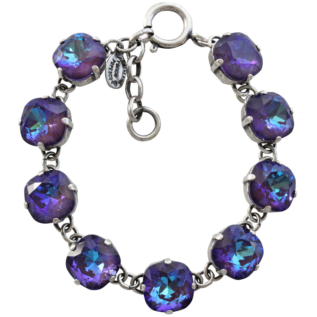 "Catherine Popesco Sterling Silver Plated Crystal Round Bracelet, 7-8"" 1696 Ultra Purple"