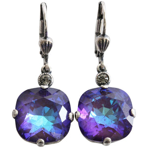 Catherine Popesco Sterling Silver Plated Crystal Round Earrings, 6556 Ultra Purple