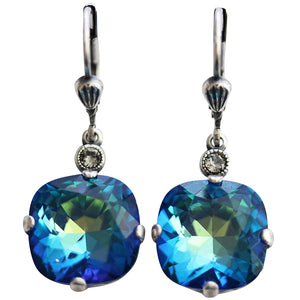 Catherine Popesco Sterling Silver Plated Crystal Round Earrings, 6556 Ultra Sky