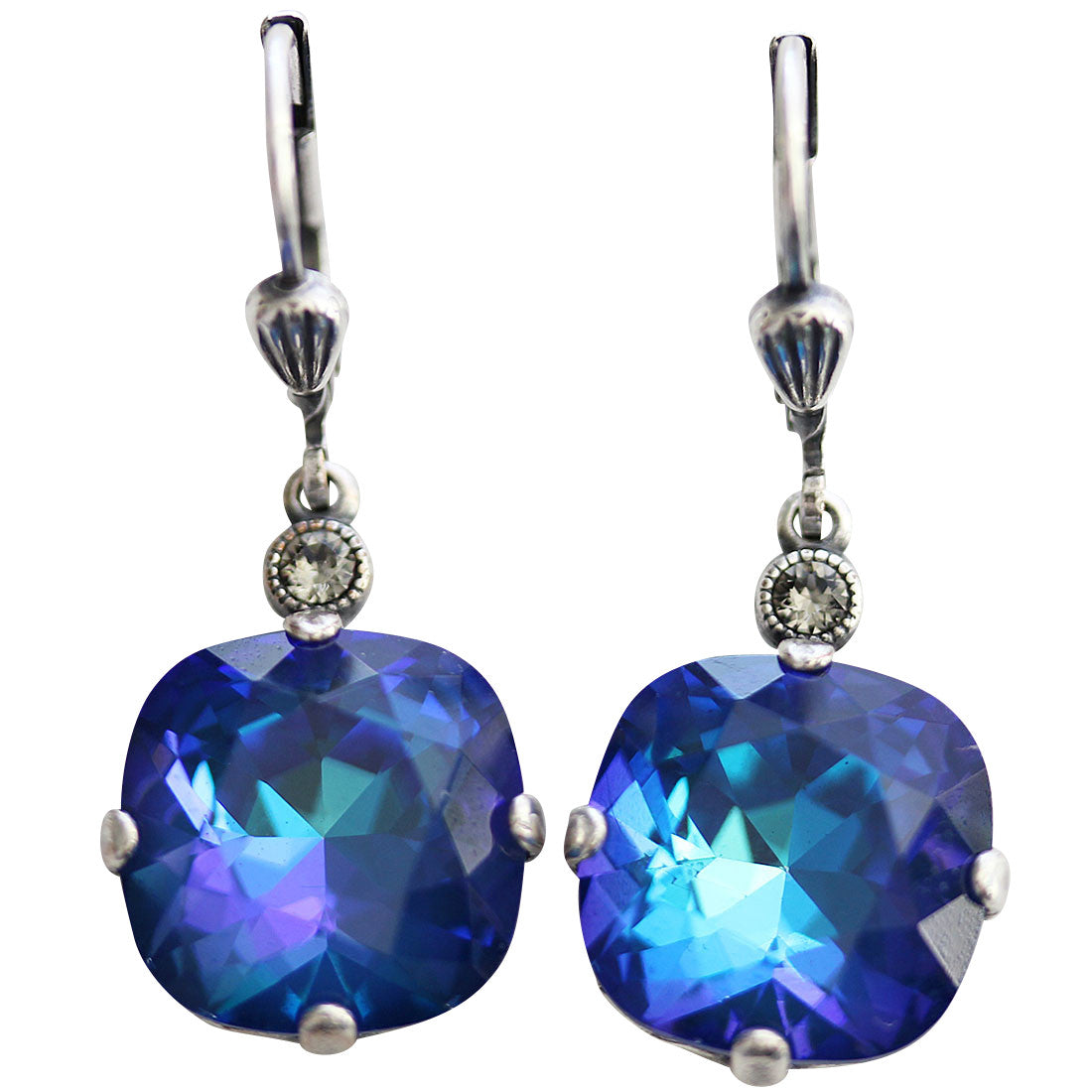 Catherine Popesco Sterling Silver Plated Crystal Round Earrings, 6556 Dark Ultra Sky