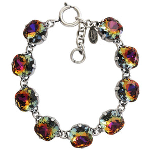 "Catherine Popesco Sterling Silver Plated Crystal Round Bracelet, 7-8"" 1696 Volcano * Limited Edition *"
