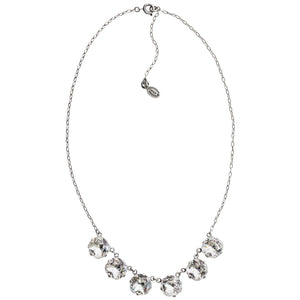 "Catherine Popesco Sterling Silver Plated Crystal Round Necklace, 16"" + 2"" Extender 1257 Clear"