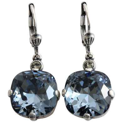 Catherine Popesco Sterling Silver Plated Crystal Round Earrings, 6556 Midnight