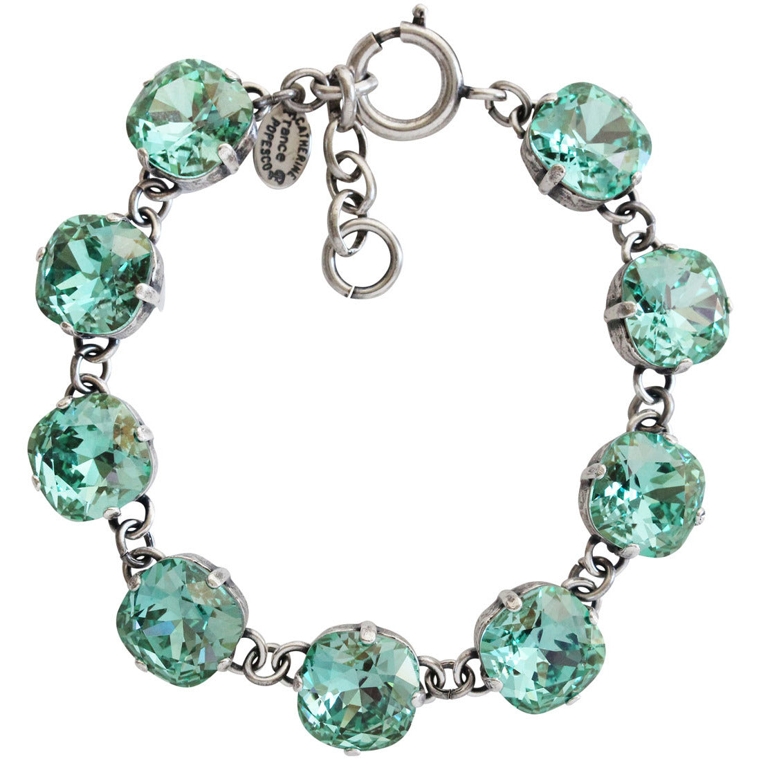 "Catherine Popesco Sterling Silver Plated Crystal Round Bracelet, 7-8"" 1696 Ocean"