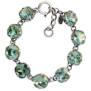 "Catherine Popesco Sterling Silver Plated Crystal Round Bracelet, 7-8"" 1696 Ocean Green"