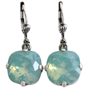 Catherine Popesco Sterling Silver Plated Crystal Round Earrings, 6556 Pacific Opal