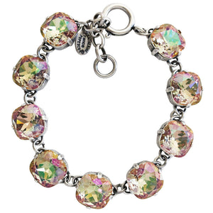 "Catherine Popesco Sterling Silver Plated Crystal Round Bracelet, 7-8"" 1696 Purple Haze"