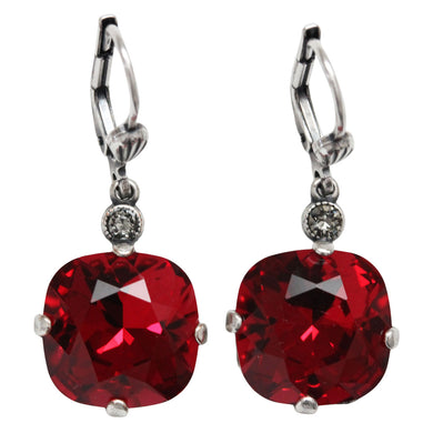 Catherine Popesco Sterling Silver Plated Crystal Round Earrings, 6556 Scarlet Red