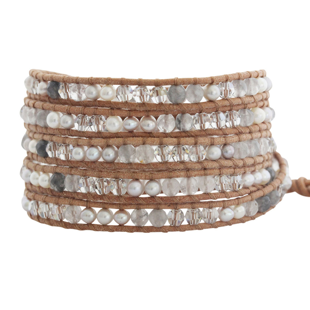 Chan Luu Pearl Mix and Cloudy Quartz Wrap Bracelet on Beige Leather BS-4564