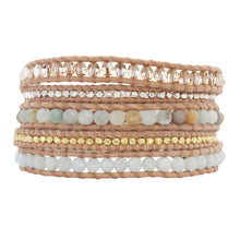 Chan Luu Matte Multi Amazonite Mix Sterling Silver Gold Plated Nuggets on Beige Leather 5 Wrap Bracelet BS-4622