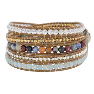 Chan Luu Multi Mix Colorful Semi-Precious Stones on Henna Leather Wrap Bracelet BS-5286