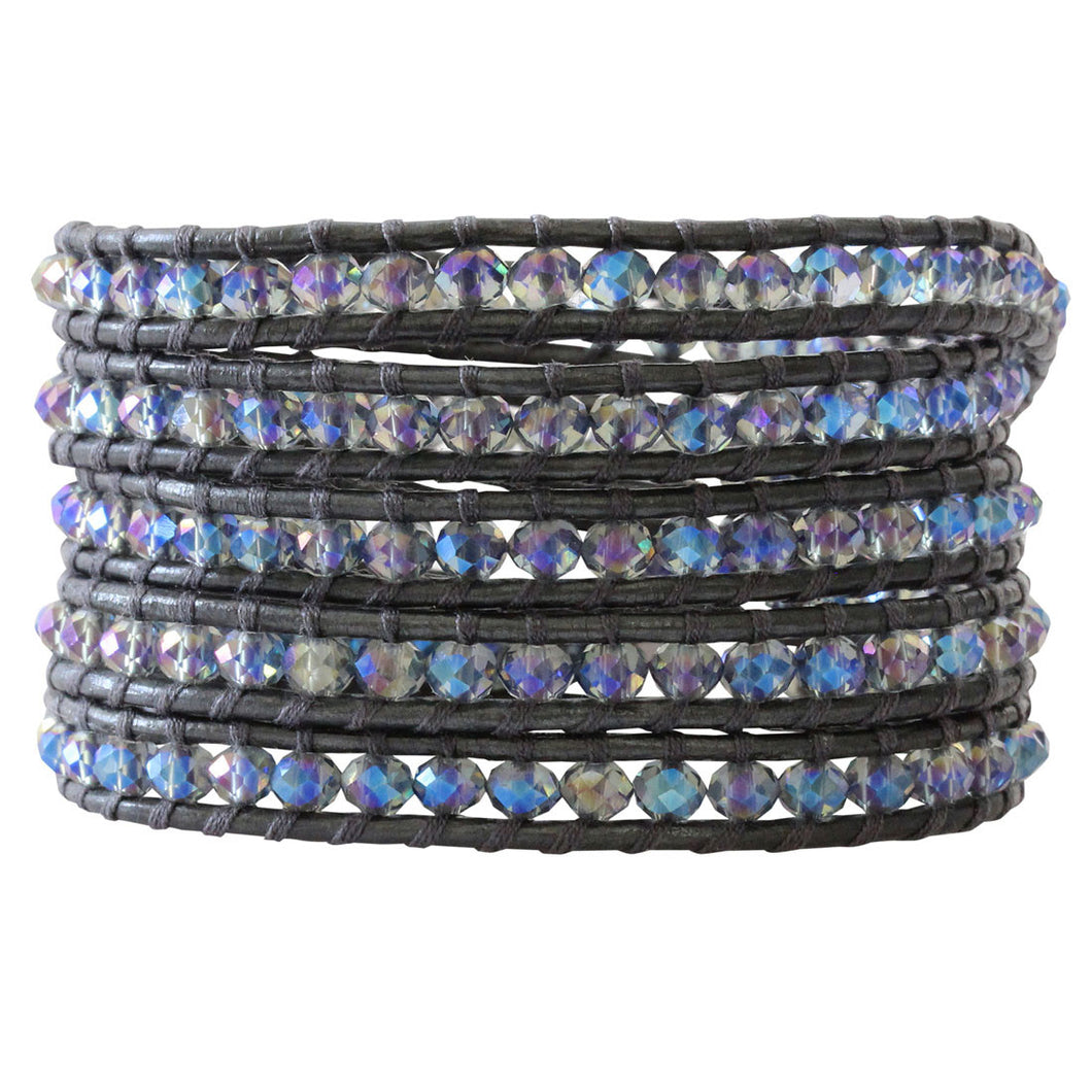Chan Luu Crystal Denim Gunmetal Leather Wrap Bracelet BS-3469