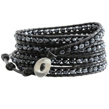 Chan Luu Crystal Midnight Black Leather Wrap Bracelet BS-3469