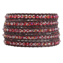 Chan Luu Iridescent Red AB Crystal on Maroon Leather Wrap Bracelet BS-3469