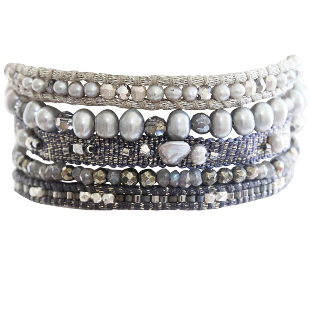 Chan Luu Grey Mix Multi Strand Pearls and Swarovski Crystals Pull Cord Cuff Bracelet BS-5064