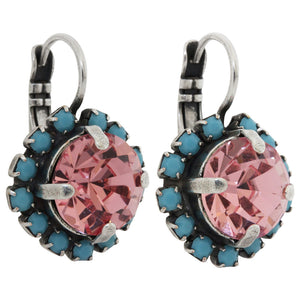 Mariana Silver Plated Cushion Crystal Border Swarovski Earrings, Summer Fun 1137/1 3711