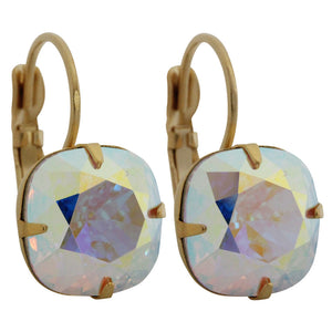 Liz Palacios 14k Gold Plated Large Cushion Swarovski Crystal Earrings, SE-6 Crystal AB