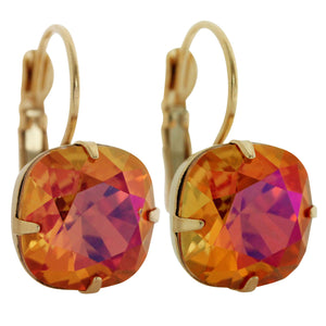 Liz Palacios 14k Gold Plated Large Cushion Swarovski Crystal Earrings, JE-6 Astral Pink