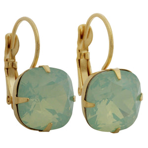 Liz Palacios 14k Gold Plated Large Cushion Swarovski Crystal Earrings, JE-6 Chrysolite Opal