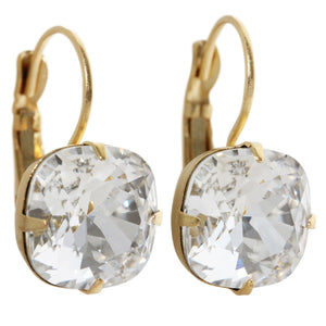 Liz Palacios 14k Gold Plated Large Cushion Swarovski Crystal Earrings, JE-6 Clear