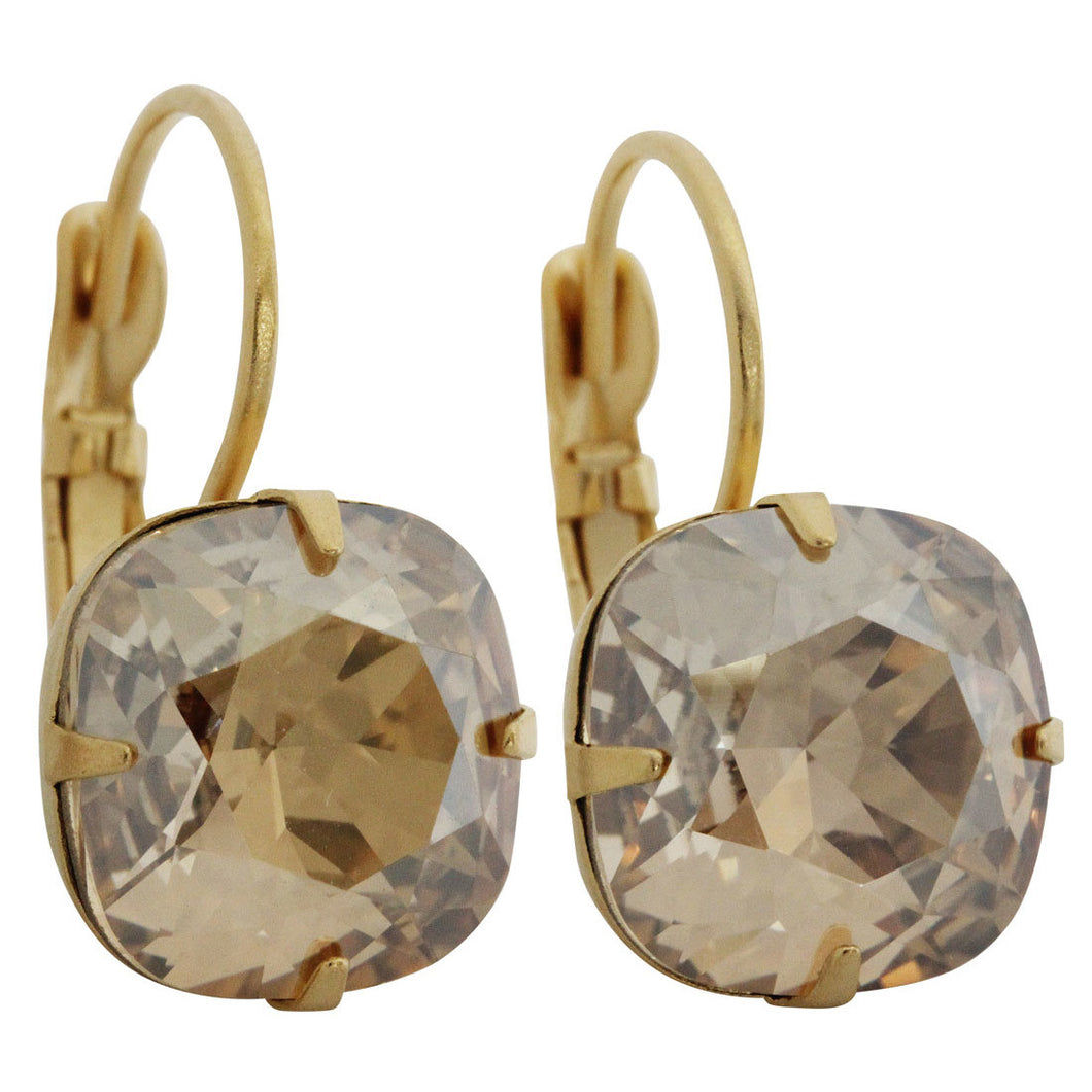 Liz Palacios 14k Gold Plated Large Cushion Swarovski Crystal Earrings, JE-6 Golden Shadow