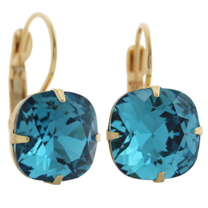 Liz Palacios 14k Gold Plated Large Cushion Swarovski Crystal Earrings, JE-6 Deep Teal Blue